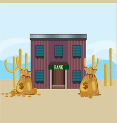 Wild west bank building template vector