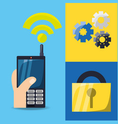 Cellphone with wifi connect and gears with padlock vector