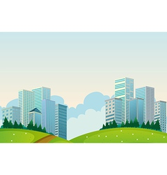 Tall buildings near the hills vector