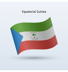 Equatorial guinea flag waving form vector