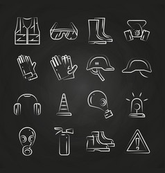 personal protective equipment thin line icons on vector image