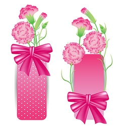 Ribbon with pink carnation for mothers day card vector