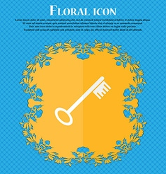 Key icon sign floral flat design on a blue vector