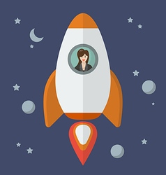Business woman on a rocket vector