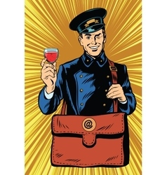 Smiling retro postman with a greeting glass of vector