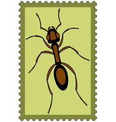 Ant on stamp vector