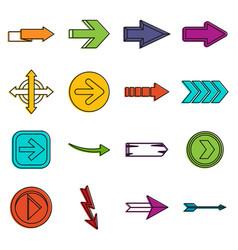 arrow icons doodle set vector image