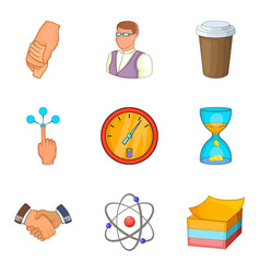 Association icons set cartoon style vector