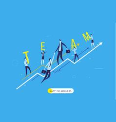 Businessman climbing graph help vector