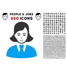 Clerk lady icon with bonus vector