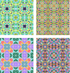 Colorful seamless mosaic pattern background set vector