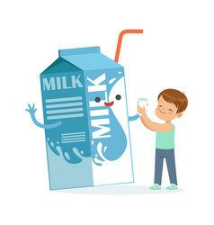 cute little boy and funny milk carton box with vector image vector image