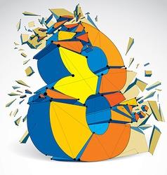 dimensional wireframe number 8 demolished digit vector image vector image