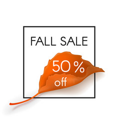 fall sale 50 percent off vector image vector image