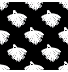 Flying Halloween ghosts seamless pattern vector image