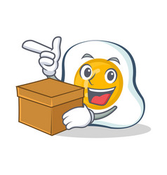 Fried egg character cartoon with box vector