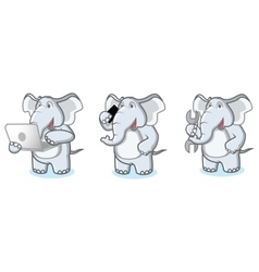 Gray Elephant Mascot with laptop vector image