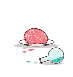Isolated cartoon brain on plate and blue chemical vector