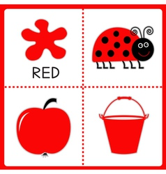 Learning red color educational cards for kids vector