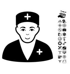 Medic icon with air drone tools bonus vector