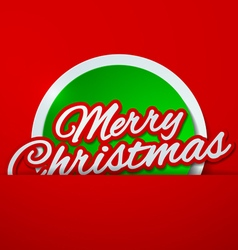 Merry christmas cut paper on red background vector