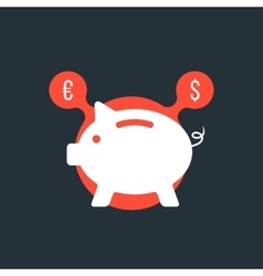 Piggy bank with currency sign in red bubble vector