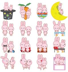 Rabbit cartoon characters vector