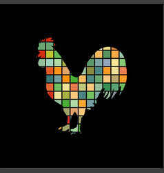rooster cock bird mosaic color silhouette animal vector image