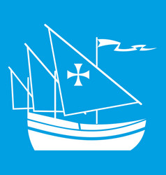 ship of columbus icon white vector image vector image