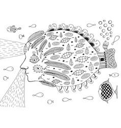 surreal fish submarine in ocean doodle line vector image vector image