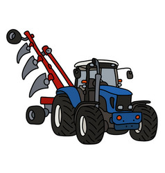 The blue tractor with a plow vector