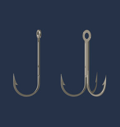 Two fishing hooks icon fisherman equipment sign vector