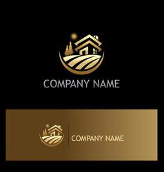 Villa landscape gold logo vector
