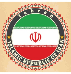 Vintage label cards of Iran flag vector image vector image