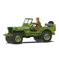 World war two army jeep vector image