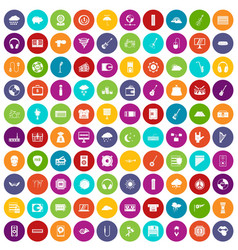 100 music festival icons set color vector