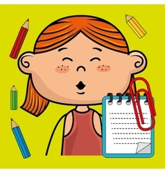 Girl cartoon child notebook vector