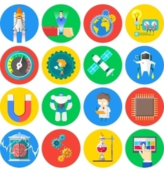 Technology and science flat icons vector