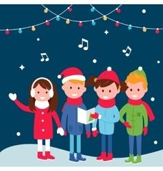 Children Wearing Warm Winter Coats Sing Carols on vector image