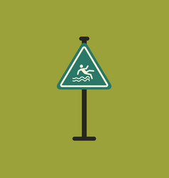 traffic sign caution danger of falling into the vector image