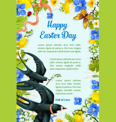 Easter poster swallows paschal flowers vector