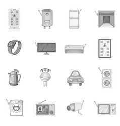 smart home system icons set monochrome vector image