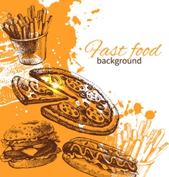 Vintage fast food background vector image