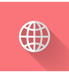 White globe icon over pink vector image