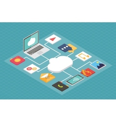 Cloud service concept isometric flat vector