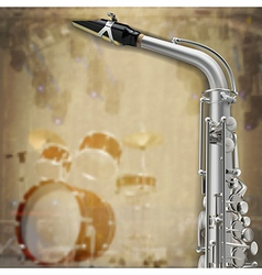 Abstract music grunge background with saxophone vector