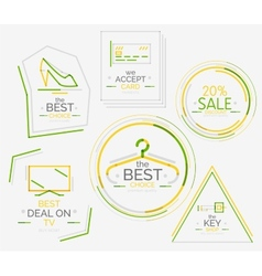 Minimal line design shopping stamps vector