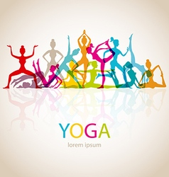 Yoga poses woman silhouette vector