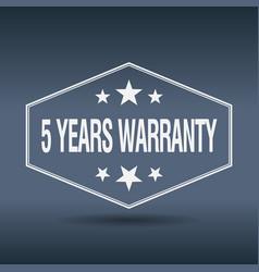 5 years warranty hexagonal white style label vector