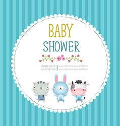 Baby shower invitation card template on blue vector